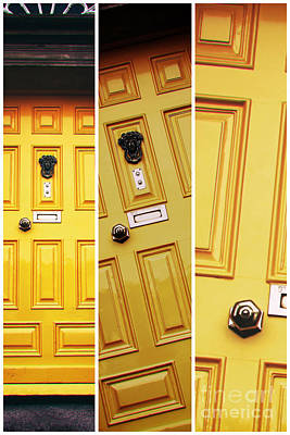 Photograph - Dublin Yellow Door Panel by John Rizzuto