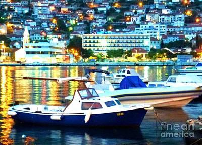 Mellow Yellow - Dubrovnik Harbor at Night by Barbie Corbett-Newmin