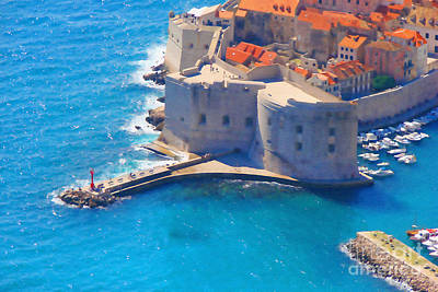 Fortress Mixed Media - Dubrovnik Old Port Dream by Aston Pershing