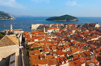 Dubrovnik Croatia Photograph - Dubrovnik Sunny Afternoon Panoramic View With The Harbor And Old by Kiril Stanchev