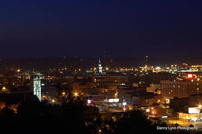 Photograph - Dubuque Downtown At Night by Dan Dickerson