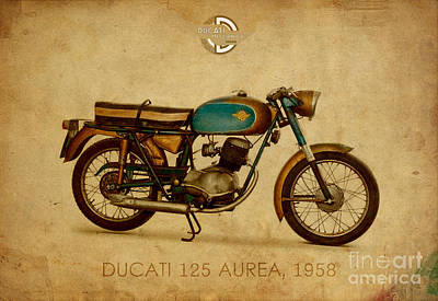 Drawings Royalty Free Images - Ducati 125 Aurea 1958 Royalty-Free Image by Drawspots Illustrations