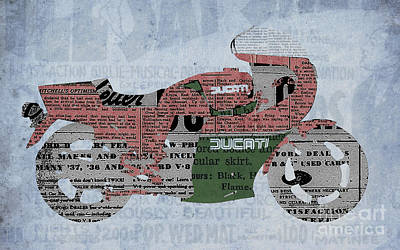 Cut Mixed Media - Ducati 900 1983 - Old Newspaper by Pablo Franchi