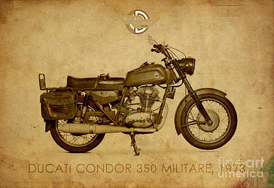 Condor Wall Art - Painting - Ducati Condor 350 Militare 1973 by Drawspots Illustrations