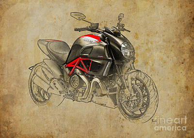 Digital Art - Ducati Diavel Carbon 2011 by Pablo Franchi