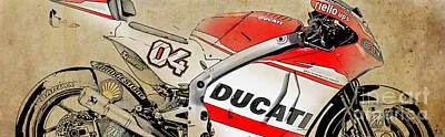 Motorcycle Drawing - Ducati Gp14 04 by Pablo Franchi
