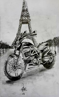 Eiffel Tower Drawing - Ducati In Paris by Mohammed Wadee