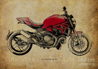 Digital Art - Ducati Monster 1200 - 2014 by Pablo Franchi