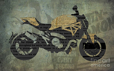 Mixed Media Royalty Free Images - Ducati Monster 1200 and the Old Newspapers Royalty-Free Image by Drawspots Illustrations