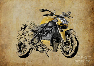 Drawing - Ducati Streetfighter 848 2012 by Pablo Franchi