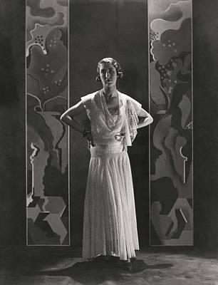 Duchess Of Alba Wearing A Lace Gown Art Print by George Hoyningen-Huene