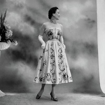 Duchess Of Windsor In A Dior Ball Gown Art Print by Cecil Beaton