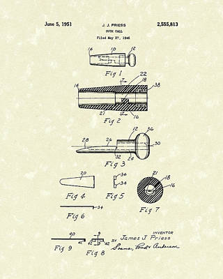Hunting Drawing - Duck Call 1951 Patent Art by Prior Art Design