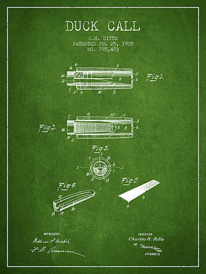 Duck Call Instrument Patent From 1905 - Green Art Print by Aged Pixel