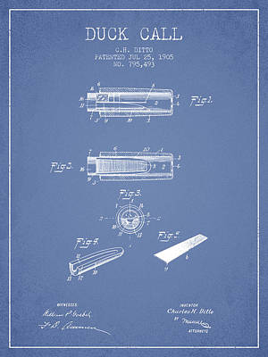 Old Instruments Digital Art - Duck Call Instrument Patent From 1905 - Light Blue by Aged Pixel