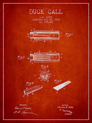Old Instruments Digital Art - Duck Call Instrument Patent From 1905 - Red by Aged Pixel
