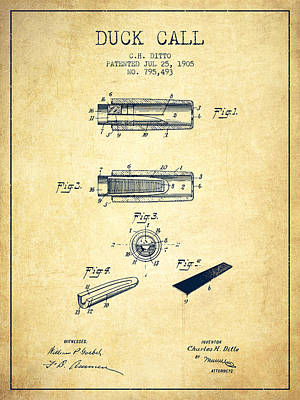 Duck Call Instrument Patent From 1905 - Vintage Art Print by Aged Pixel