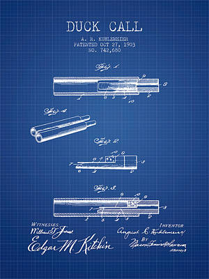 Birds Rights Managed Images - Duck Call Patent from 1903 - Blueprint Royalty-Free Image by Aged Pixel