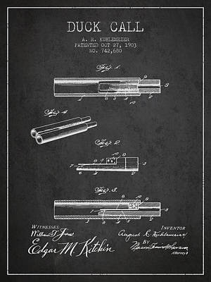 Duck Call Patent From 1903 - Charcoal Art Print by Aged Pixel