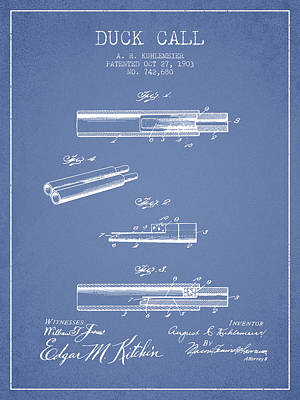 Duck Call Patent From 1903 - Light Blue Art Print by Aged Pixel