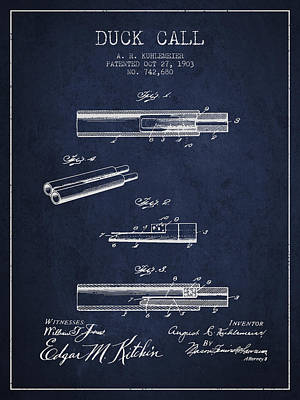 Old Instruments Digital Art - Duck Call Patent From 1903 - Navy Blue by Aged Pixel