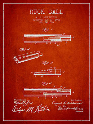 Old Instruments Digital Art - Duck Call Patent From 1903 - Red by Aged Pixel