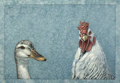 Duck Chicken Art Print by James W Johnson