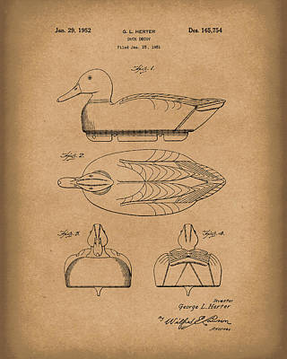 Drawing - Duck Decoy 1952 Patent Art Brown by Prior Art Design