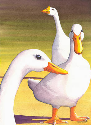 Geese Painting - Duck Duck Goose by Catherine G McElroy