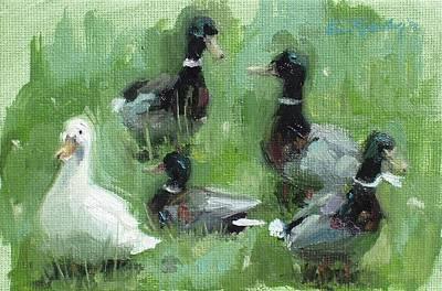 Painting - Duck Duck Goose by Erin Rickelton