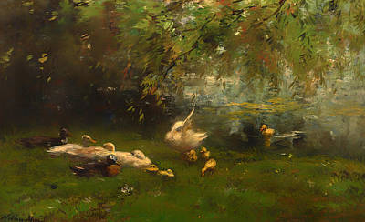 Beautiful Creek Painting - Duck Heaven by Mountain Dreams
