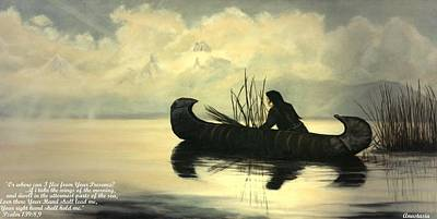 With Scripture Painting - Duck Hunter Trubute To Edward Curtis by Anastasia Savage Ealy