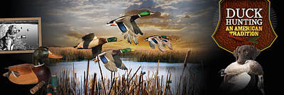 Wings Photograph - Duck Hunting An American Tradition by Retro Images Archive
