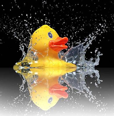 Reflexion Photograph - Yellow Duck by Manfred Lutzius