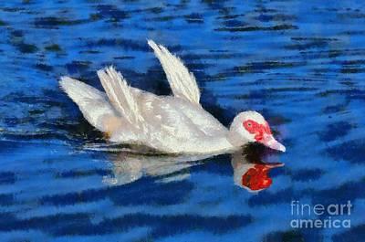 Duck Painting - Painting Of Duck by George Atsametakis