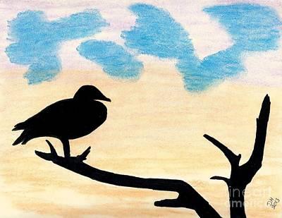 Birds Drawing - Duck Sunset by D Hackett
