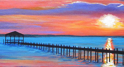 Carolina Duck Painting - Duck Sunset I by Anne Marie Brown