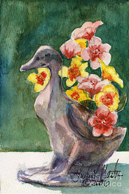 Painting - Duck Vase by Linda L Martin