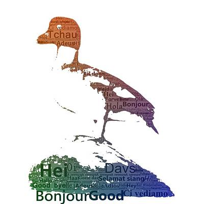 Duck With Colored Text Art Print