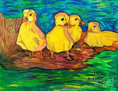 Ducklings Out By The Water Art Print