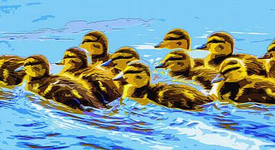 Baby Mallards Digital Art - Duckling Dash by Brian Stevens