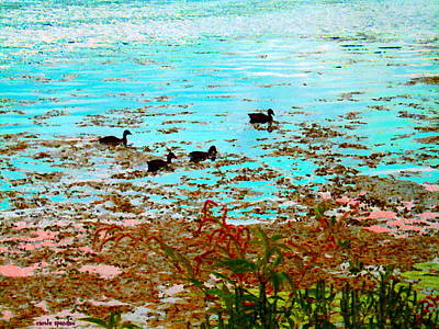 Ducklings On The Shore St Lawrence River Lachine Canal Art Of Quebec Landscapes Carole Spandau Art Print by Carole Spandau