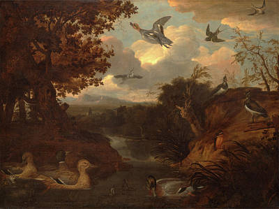 Lapwing Painting - Ducks And Other Birds About A Stream In An Italianate by Litz Collection