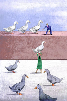 Ducks In A Row Art Print by Steve Dininno