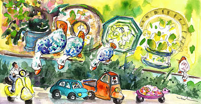 Turtle Drawing - Ducks In Taormina Traffic by Miki De Goodaboom