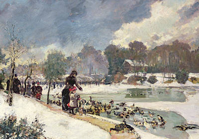 Winter In The Country Painting - Ducks In The Bois De Boulogne by Emile Antoine Guillier