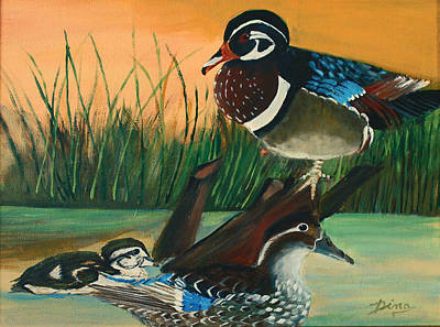 Painting - Ducks In The Pond by Dina Jacobs