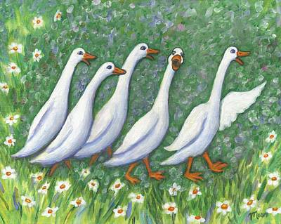 Ducks Painting - Ducks Laughing by Linda Mears