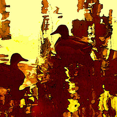 Duck Painting - Ducks On Red Lake 3 by Amy Vangsgard