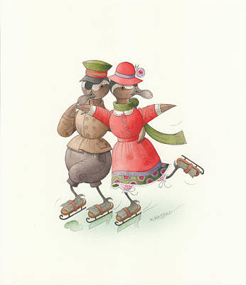 Painting - Ducks On Skates 01 by Kestutis Kasparavicius